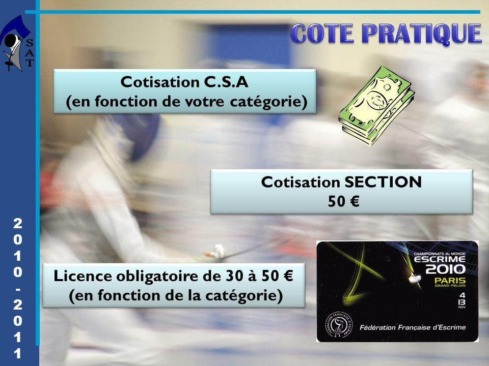 2010-20112010-2011 Cotisation C.S.A (en fonction de votre catégorie) Cotisation C.S.A (en fonction de votre catégorie) Cotisation SECTION 50 € Cotisat