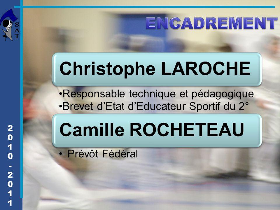 2010-20112010-2011 Christophe LAROCHE Responsable technique et pédagogique Brevet d'Etat d'Educateur Sportif du 2° Camille ROCHETEAU Prévôt Fédéral