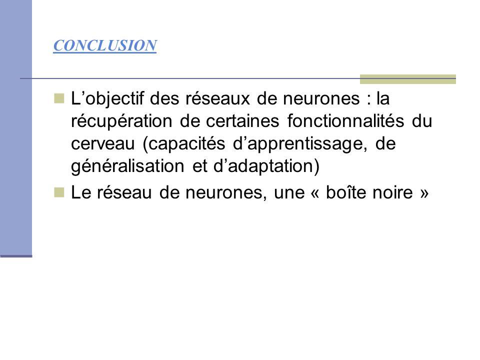 CONCLUSION L'objectif des réseaux de neurones : la récupération de certaines fonctionnalités du cerveau (capacités d'apprentissage, de généralisation