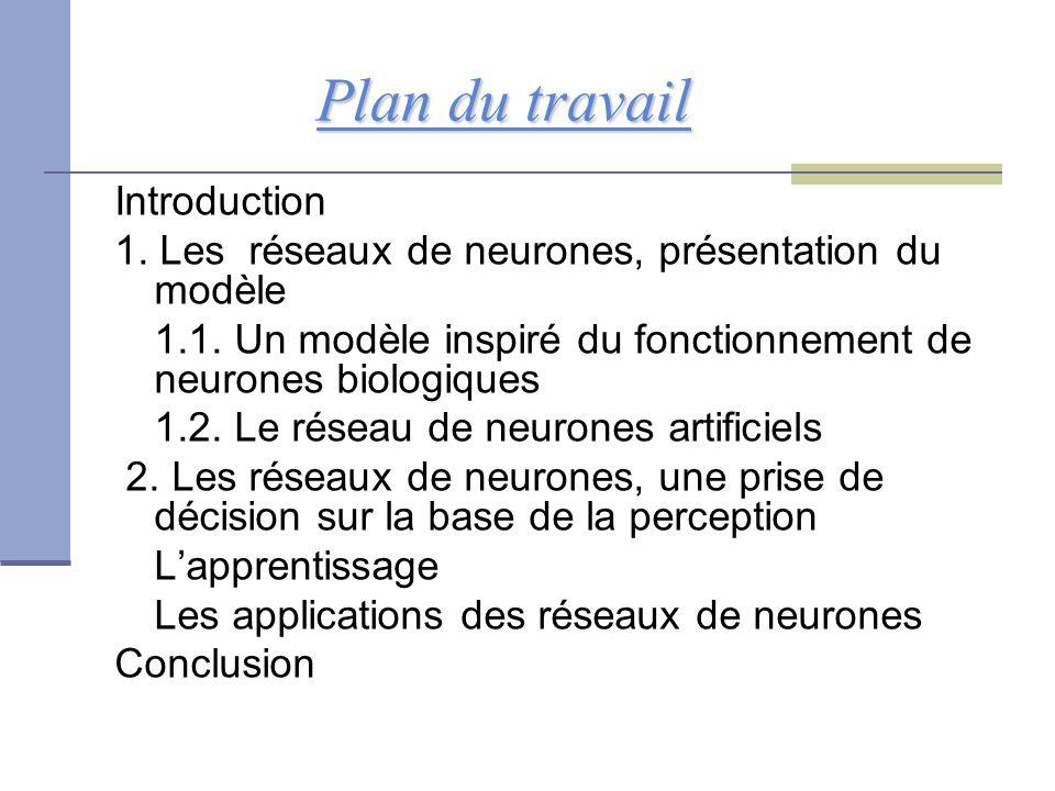 Plan du travail Plan du travail Introduction 1. Les réseaux de neurones, présentation du modèle 1.1. Un modèle inspiré du fonctionnement de neurones b