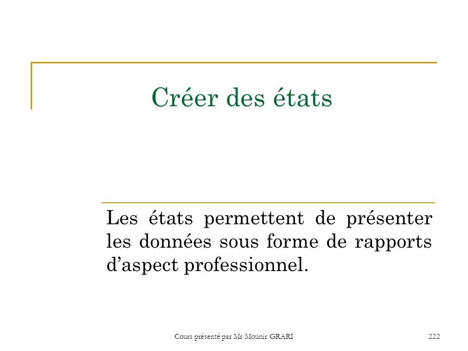 Cours présenté par Mr Mounir GRARI 223 Créer un état à l'aide de l'assistant état 1.Cliquez Etats dans la fenêtre Base de données.