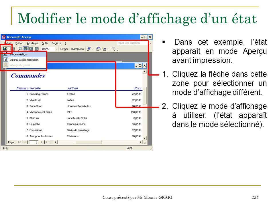 Cours présenté par Mr Mounir GRARI 236 Modifier le mode d'affichage d'un état  Dans cet exemple, l'état apparaît en mode Aperçu avant impression. 1.C