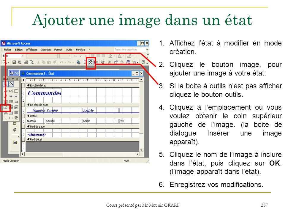 Cours présenté par Mr Mounir GRARI 237 Ajouter une image dans un état 1.Affichez l'état à modifier en mode création. 2.Cliquez le bouton image, pour a