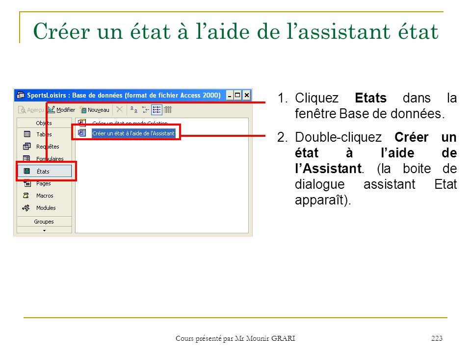Cours présenté par Mr Mounir GRARI 223 Créer un état à l'aide de l'assistant état 1.Cliquez Etats dans la fenêtre Base de données. 2.Double-cliquez Cr