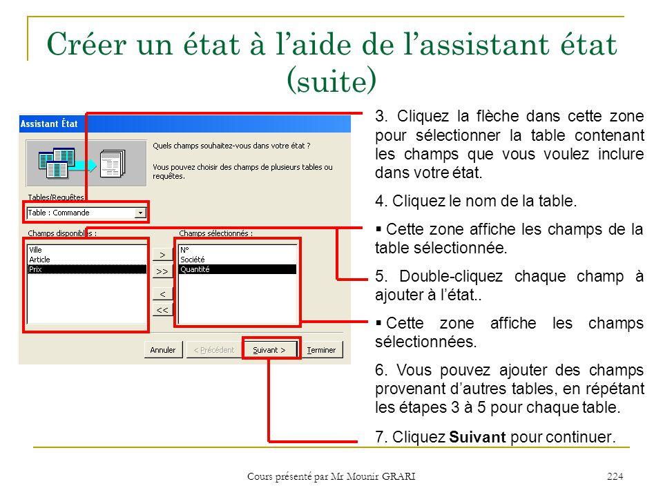 Cours présenté par Mr Mounir GRARI 225 Créer un état à l'aide de l'assistant état (suite)  Si vous avez sélectionné des champs provenant de plusieurs tables, vous pouvez choisir la table à utiliser pour regrouper les données de l'état.