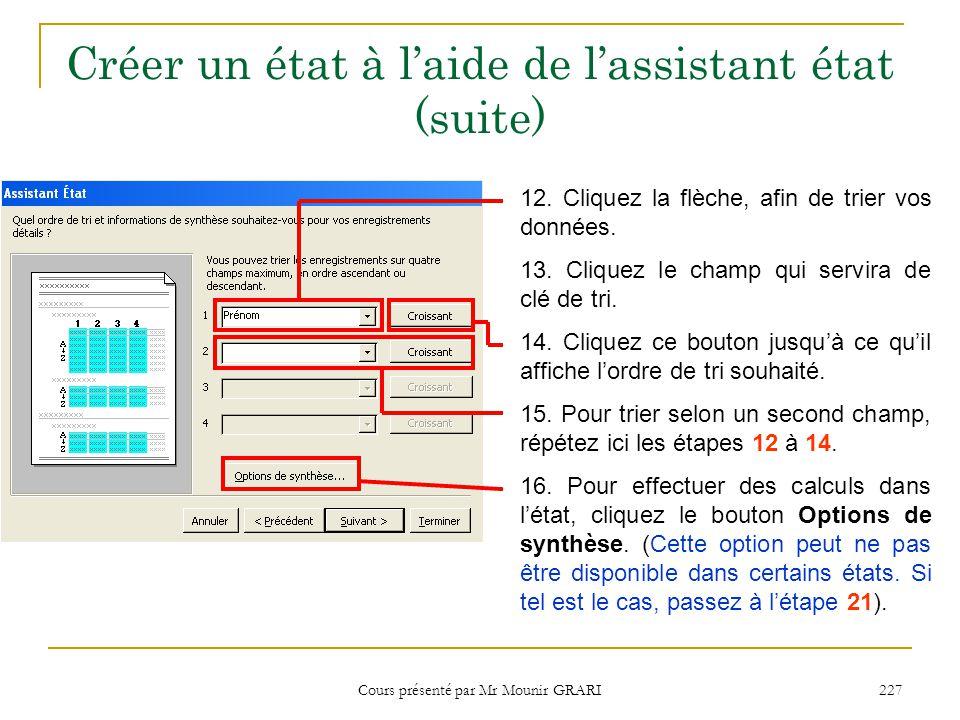 Cours présenté par Mr Mounir GRARI 228 Créer un état à l'aide de l'assistant état (suite)  La boite de dialogue Option de synthèse apparaît.