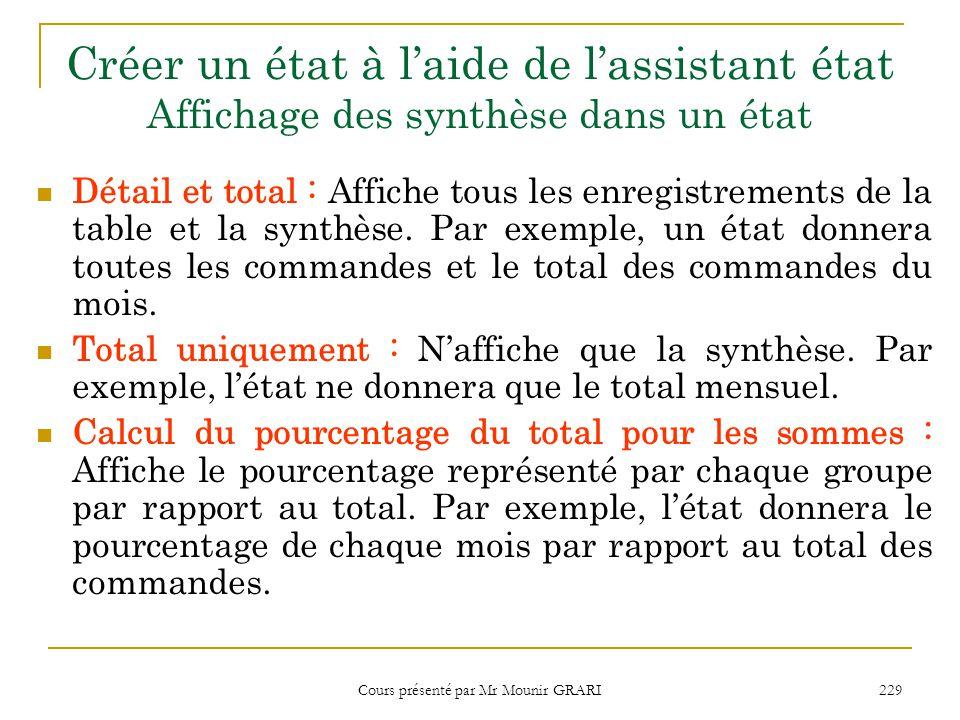 Cours présenté par Mr Mounir GRARI 229 Créer un état à l'aide de l'assistant état Affichage des synthèse dans un état Détail et total : Affiche tous l