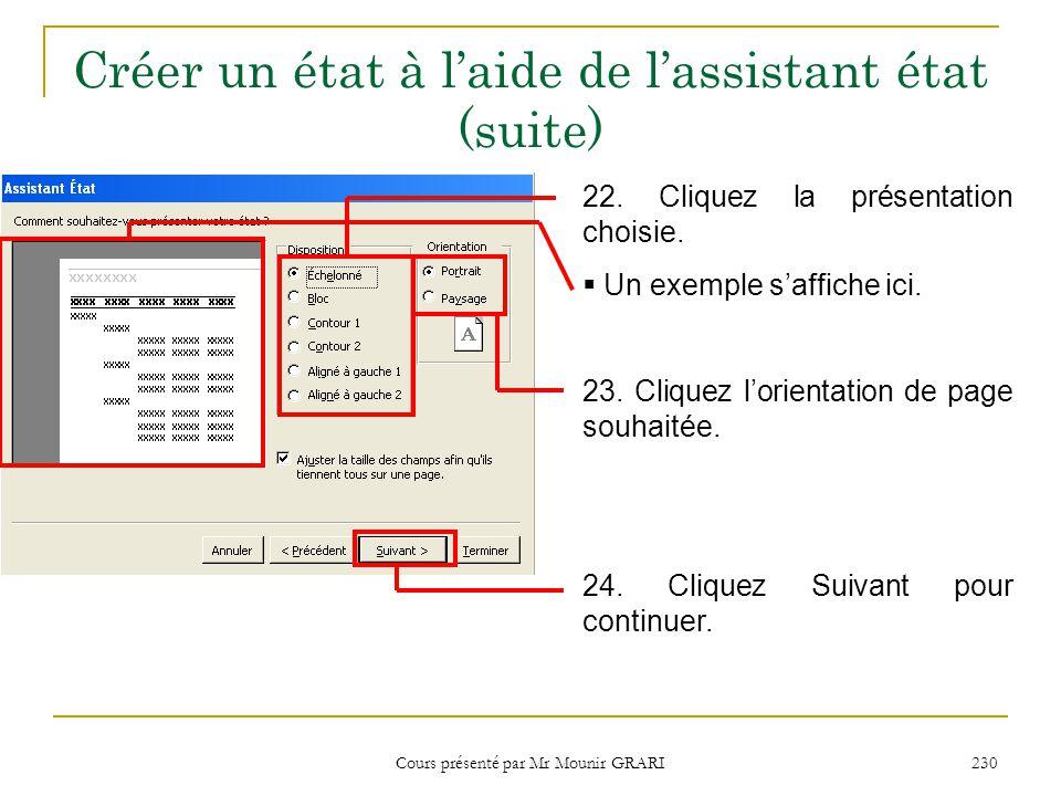Cours présenté par Mr Mounir GRARI 230 Créer un état à l'aide de l'assistant état (suite) 22. Cliquez la présentation choisie.  Un exemple s'affiche