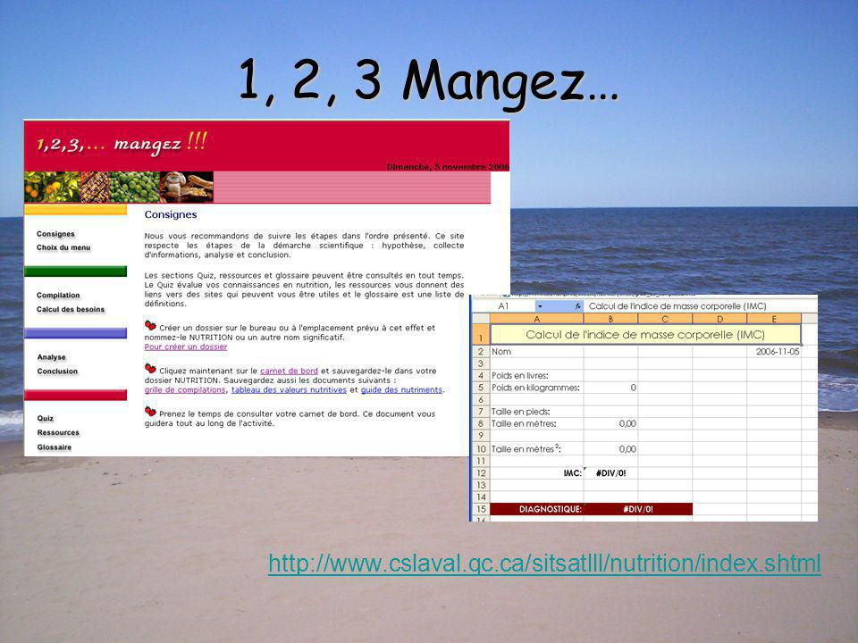 1, 2, 3 Mangez… http://www.cslaval.qc.ca/sitsatlll/nutrition/index.shtml