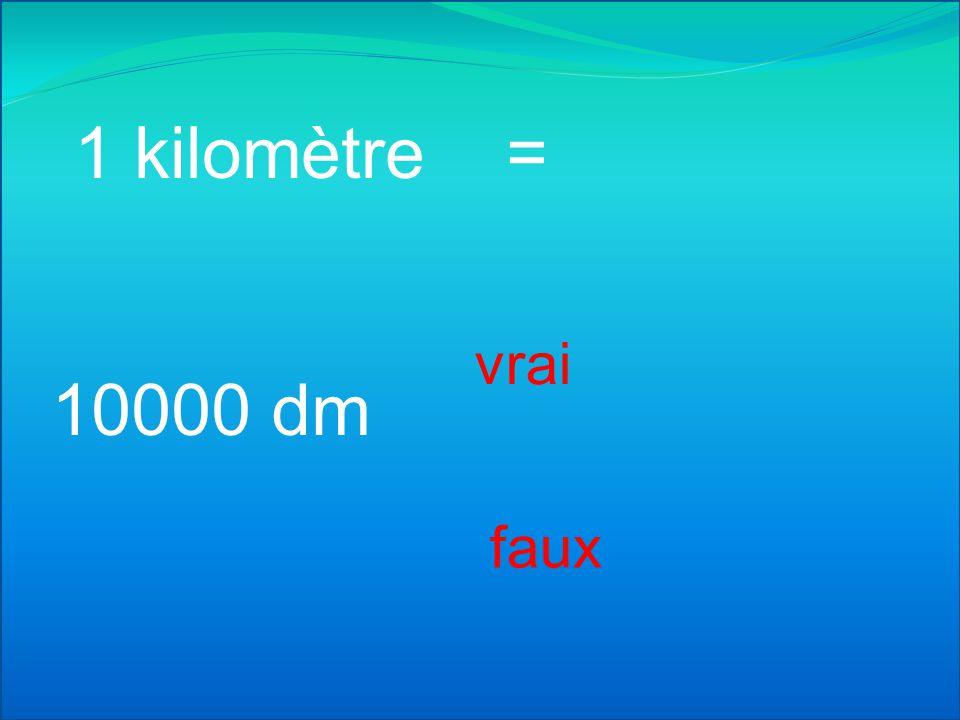 1 kilomètre = 10 hm vrai faux