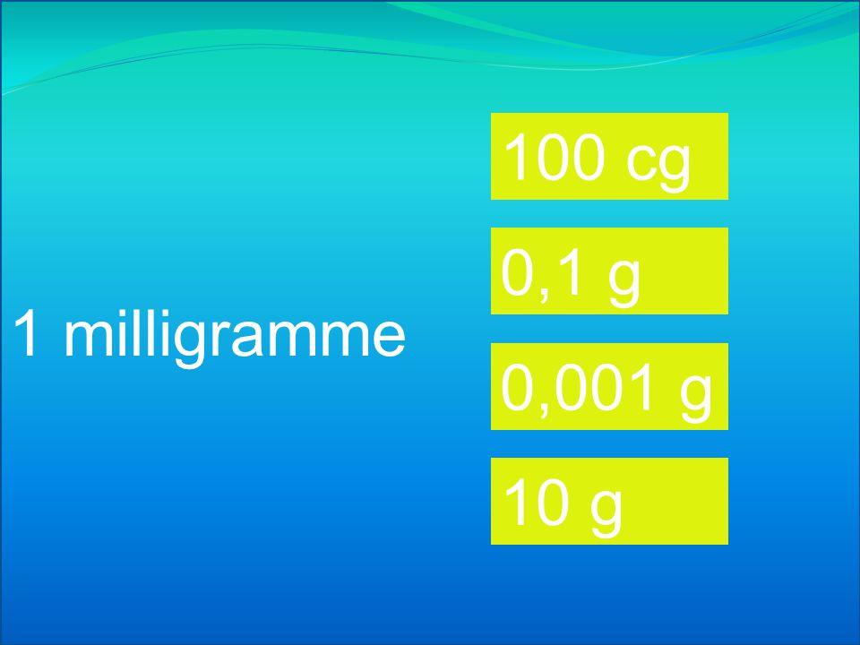1 décigramme 100 cg 0,1 g 0,01 g 10 g
