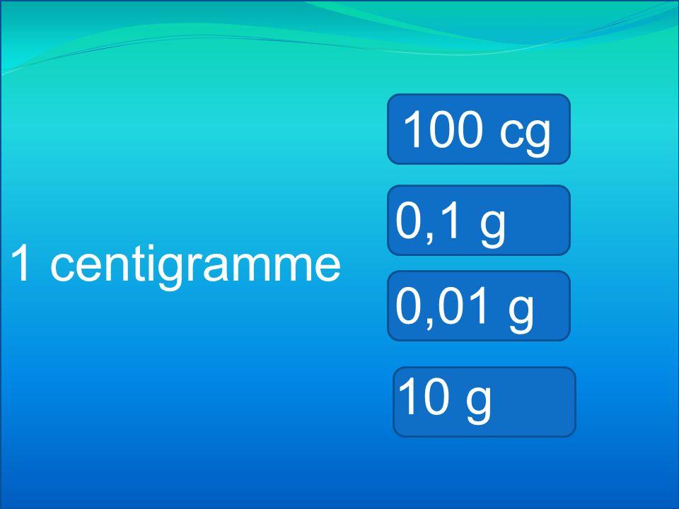 1 milligramme 100 cg 0,1 g 0,001 g 10 g