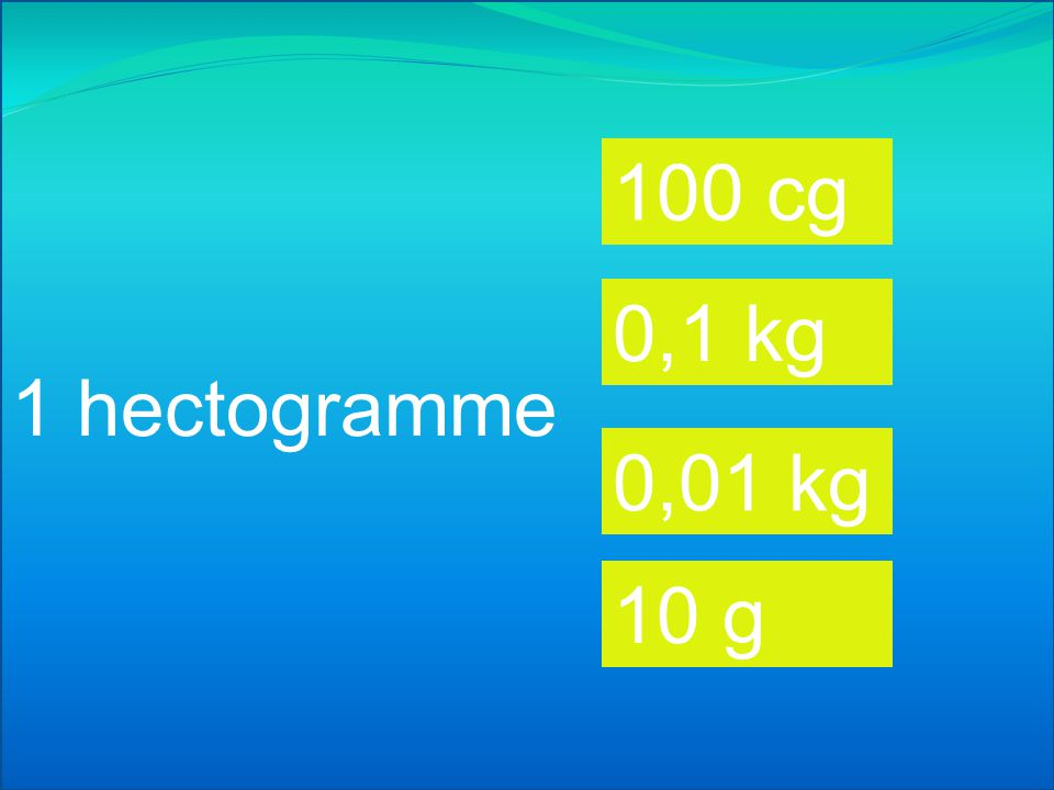 1 centigramme 100 cg 0,1 g 0,01 g 10 g
