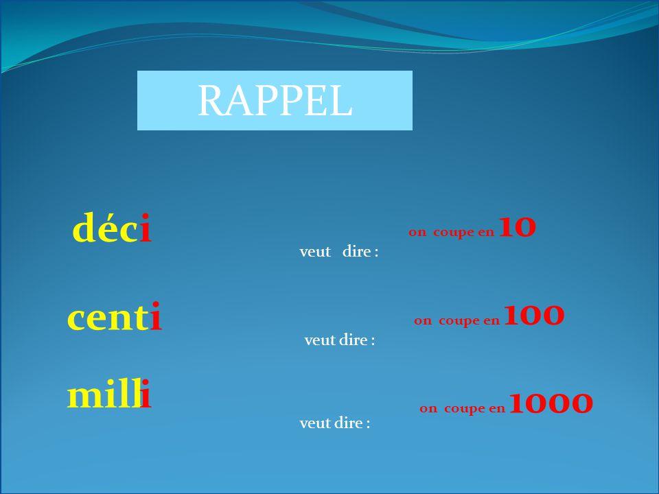 RAPPEL kil veut dire : hect veut dire : o 1000 on « colle » 1000 o 100 On « colle » 100 déca veut dire : 10 On « colle » 10