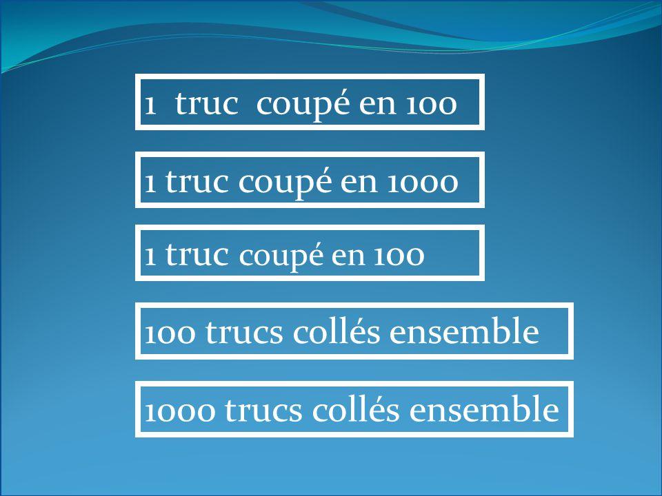 1 truc coupé en 100 1 truc coupé en 1000 1 truc coupé en 100 100 trucs collés ensemble 1000 trucs collés ensemble