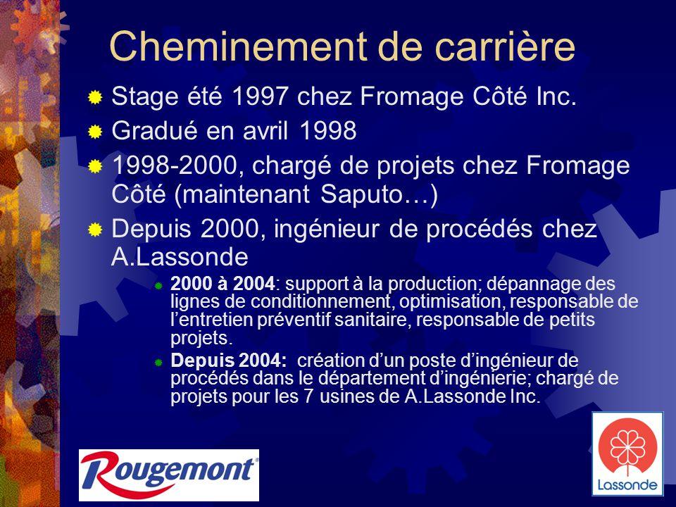Cheminement de carrière  Stage été 1997 chez Fromage Côté Inc.