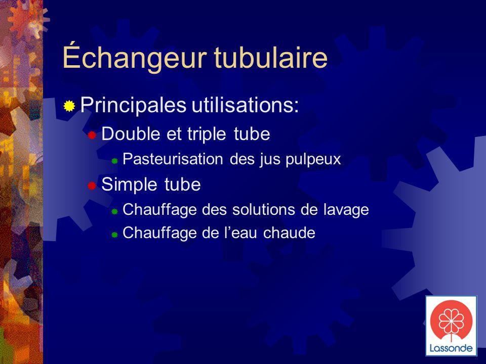 Échangeur tubulaire  Principales utilisations:  Double et triple tube  Pasteurisation des jus pulpeux  Simple tube  Chauffage des solutions de lavage  Chauffage de l'eau chaude