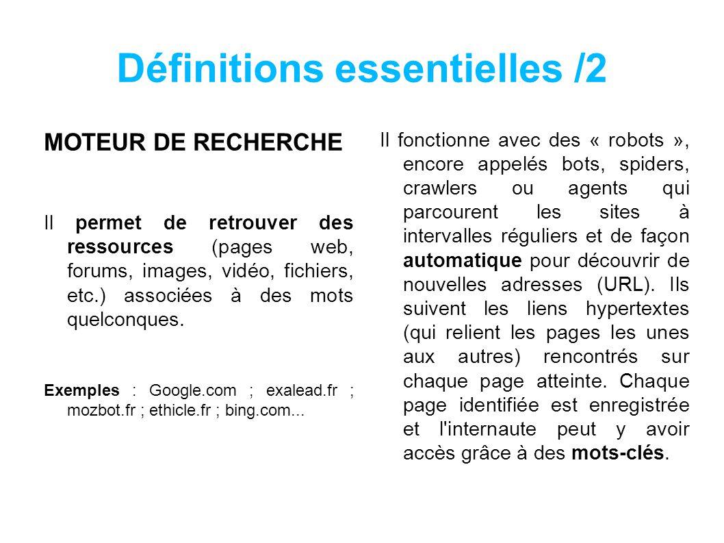 Définitions essentielles /2 MOTEUR DE RECHERCHE Il permet de retrouver des ressources (pages web, forums, images, vidéo, fichiers, etc.) associées à des mots quelconques.
