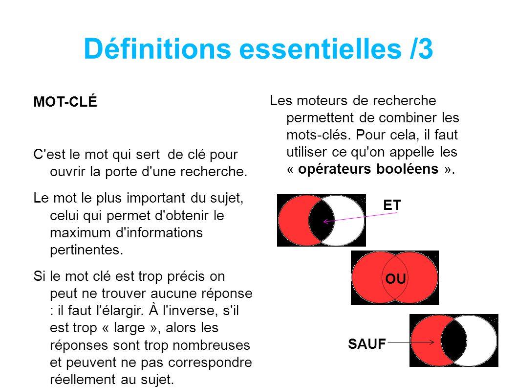 Définitions essentielles /3 MOT-CLÉ C est le mot qui sert de clé pour ouvrir la porte d une recherche.