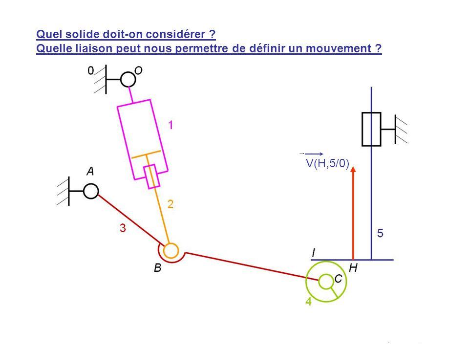 V(H,5/0) Quel solide doit-on considérer ? Quelle liaison peut nous permettre de définir un mouvement ?