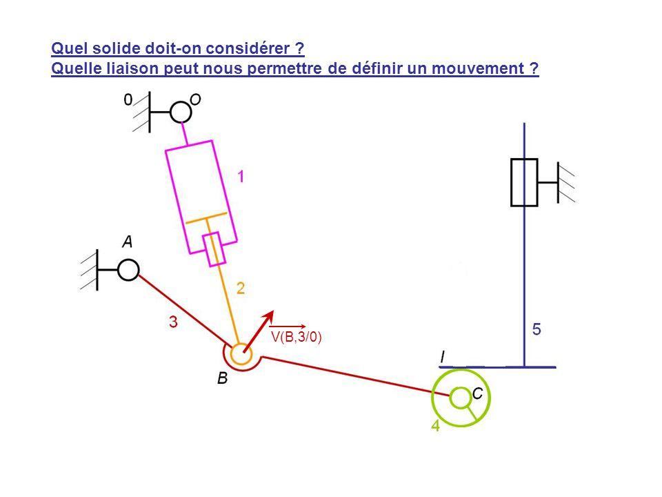 V(H,5/0) V(B,3/0) Quel solide doit-on considérer ? Quelle liaison peut nous permettre de définir un mouvement ?