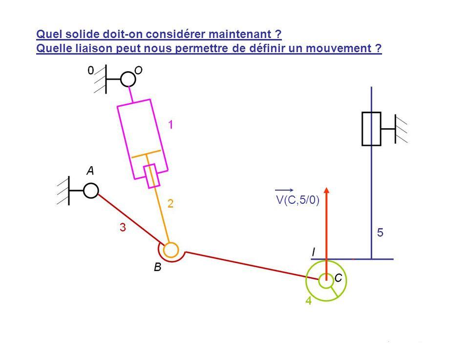 V(H,5/0) V(C,5/0) Quel solide doit-on considérer maintenant ? Quelle liaison peut nous permettre de définir un mouvement ?