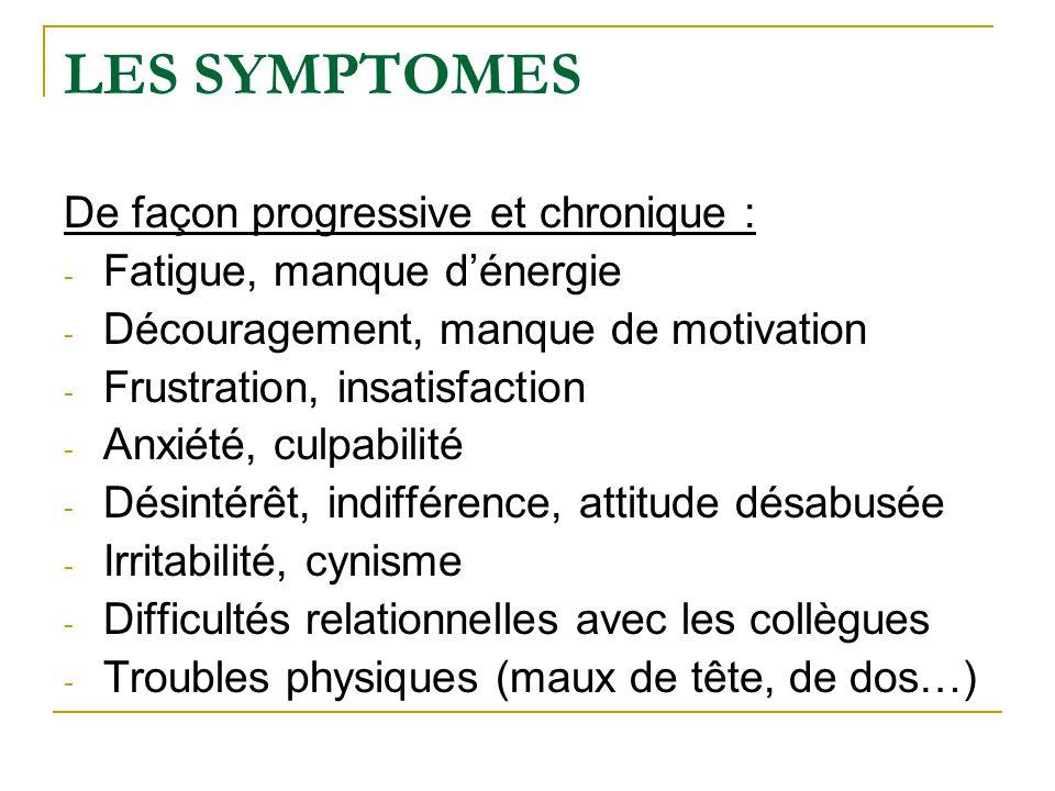 LES SYMPTOMES De façon progressive et chronique : - Fatigue, manque d'énergie - Découragement, manque de motivation - Frustration, insatisfaction - An