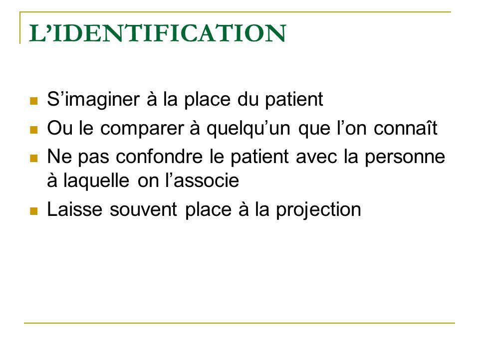 L'IDENTIFICATION S'imaginer à la place du patient Ou le comparer à quelqu'un que l'on connaît Ne pas confondre le patient avec la personne à laquelle