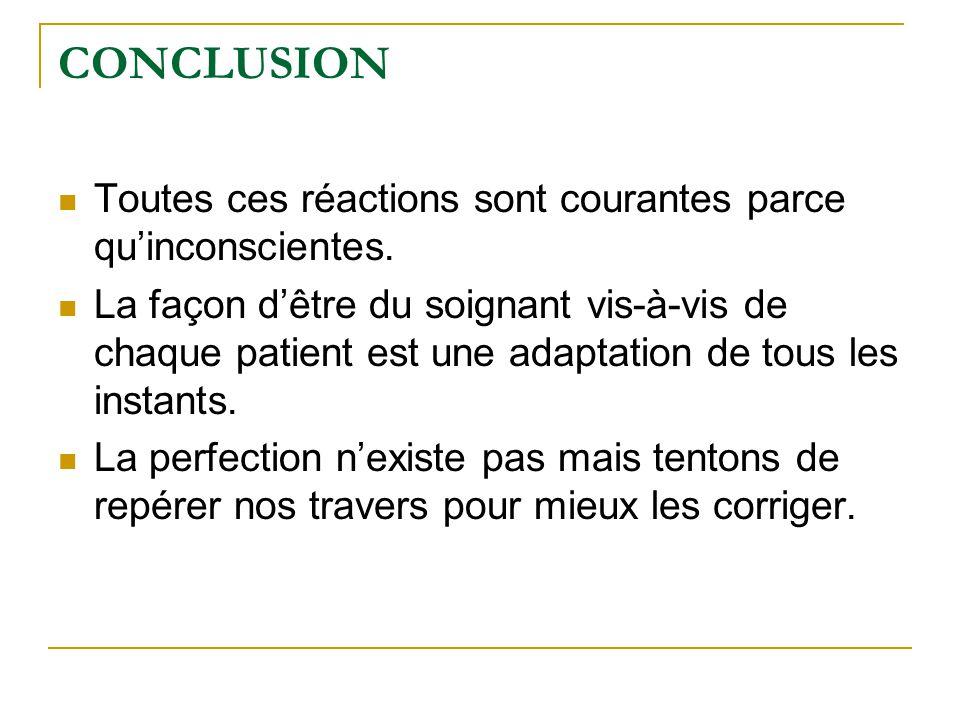 CONCLUSION Toutes ces réactions sont courantes parce qu'inconscientes. La façon d'être du soignant vis-à-vis de chaque patient est une adaptation de t