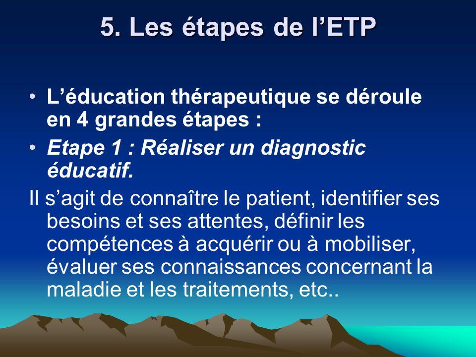 5. Les étapes de l'ETP L'éducation thérapeutique se déroule en 4 grandes étapes : Etape 1 : Réaliser un diagnostic éducatif. Il s'agit de connaître le