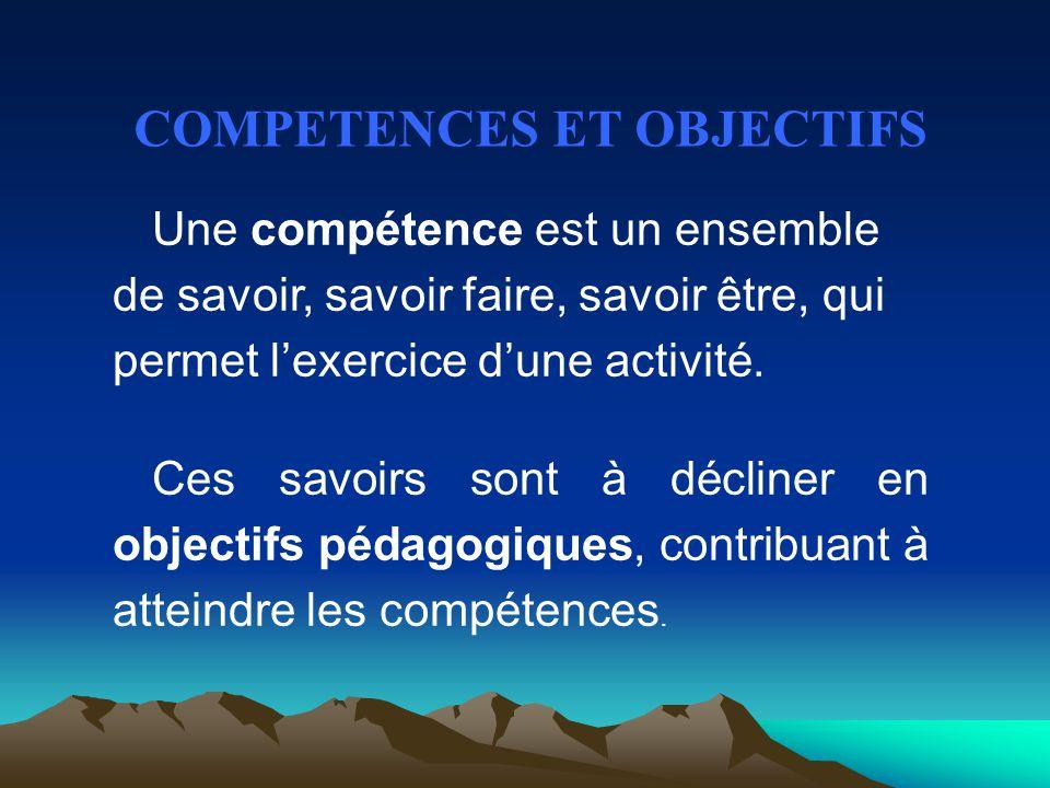 Une compétence est un ensemble de savoir, savoir faire, savoir être, qui permet l'exercice d'une activité. Ces savoirs sont à décliner en objectifs pé