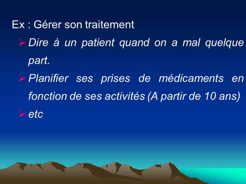 Ex : Gérer son traitement  Dire à un patient quand on a mal quelque part.  Planifier ses prises de médicaments en fonction de ses activités (A parti