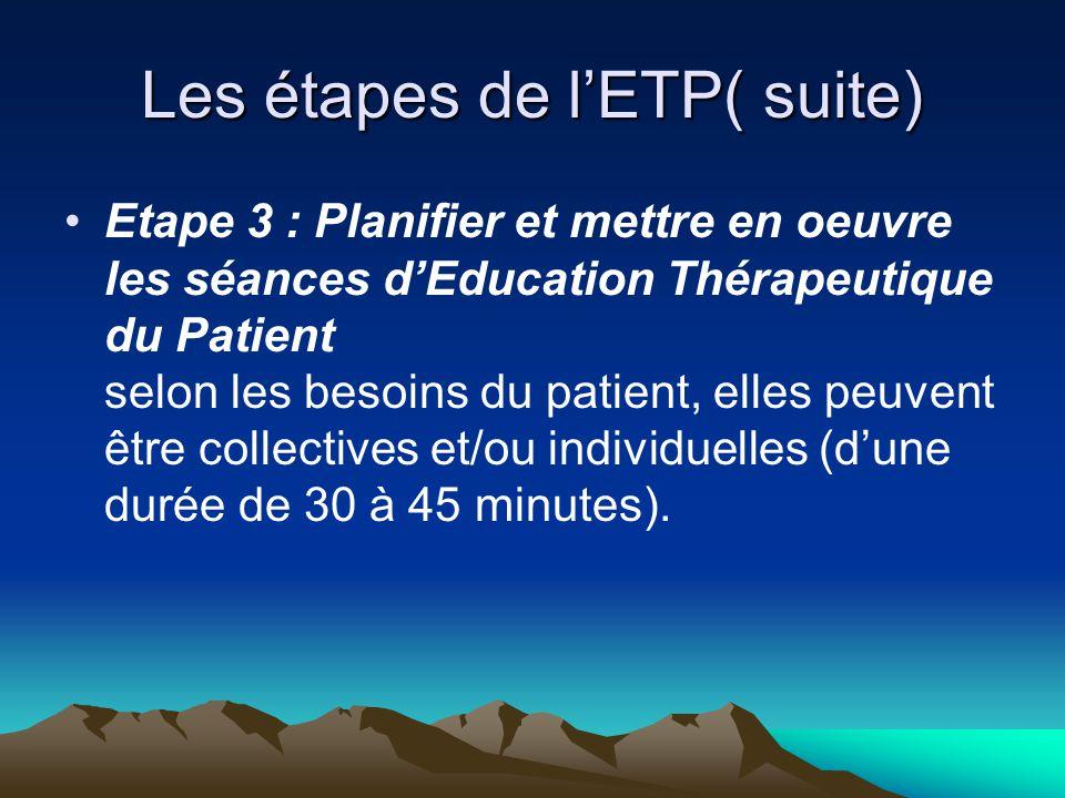 Les étapes de l'ETP( suite) Etape 3 : Planifier et mettre en oeuvre les séances d'Education Thérapeutique du Patient selon les besoins du patient, ell