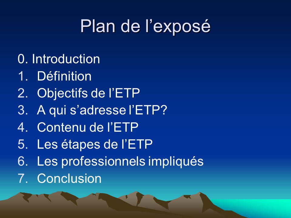 Plan de l'exposé 0. Introduction 1.Définition 2.Objectifs de l'ETP 3.A qui s'adresse l'ETP? 4.Contenu de l'ETP 5.Les étapes de l'ETP 6.Les professionn