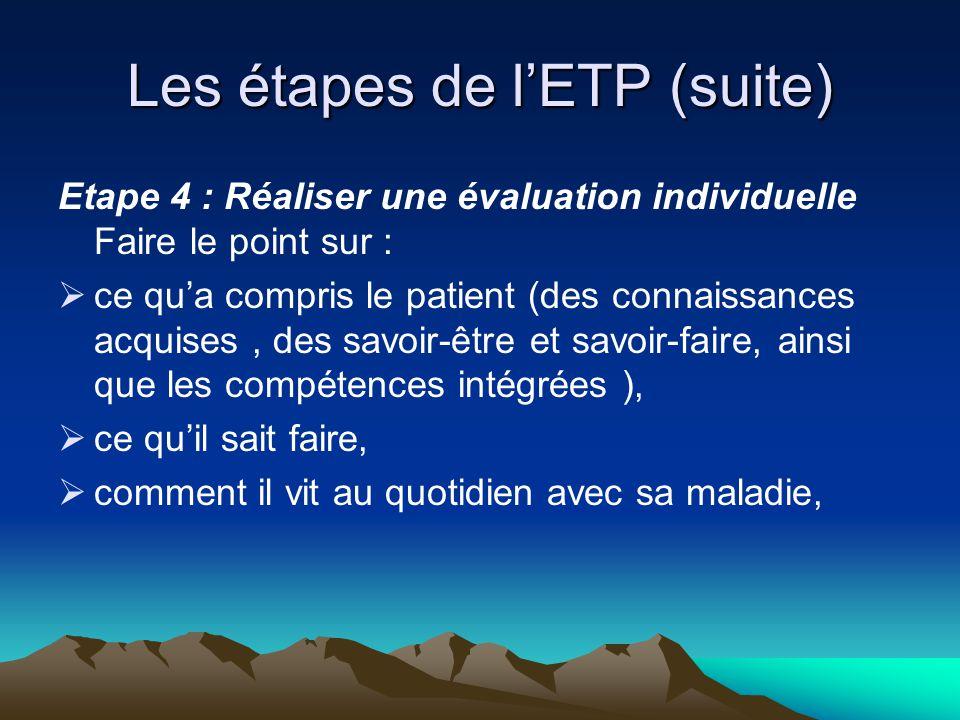 Les étapes de l'ETP (suite) Etape 4 : Réaliser une évaluation individuelle Faire le point sur :  ce qu'a compris le patient (des connaissances acquis