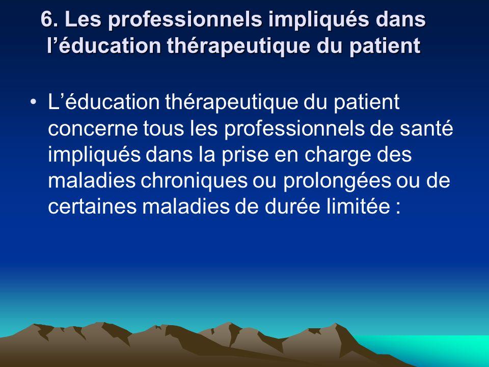 6. Les professionnels impliqués dans l'éducation thérapeutique du patient L'éducation thérapeutique du patient concerne tous les professionnels de san