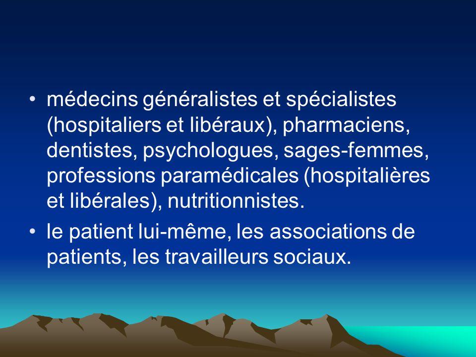 médecins généralistes et spécialistes (hospitaliers et libéraux), pharmaciens, dentistes, psychologues, sages-femmes, professions paramédicales (hospi