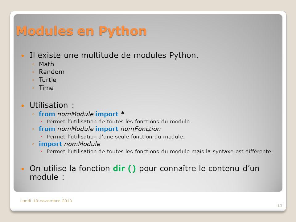 Il existe une multitude de modules Python.