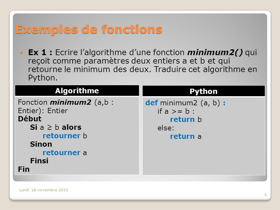Exemples de fonctions Ex 1 : Ecrire l'algorithme d'une fonction minimum2() qui reçoit comme paramètres deux entiers a et b et qui retourne le minimum des deux.