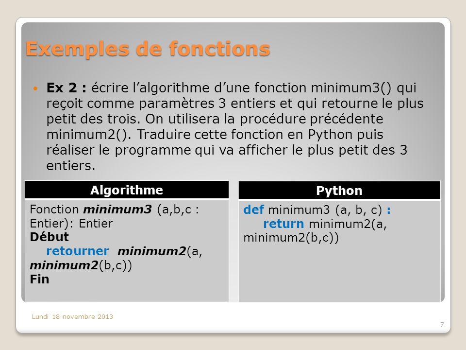 Exemples de fonctions Ex 2 : écrire l'algorithme d'une fonction minimum3() qui reçoit comme paramètres 3 entiers et qui retourne le plus petit des trois.