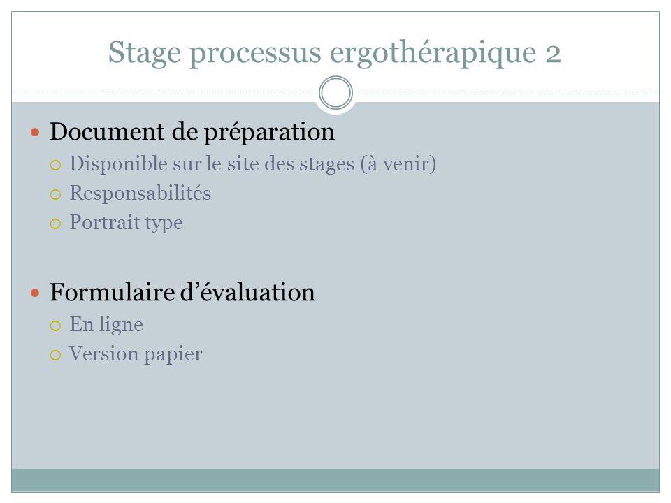 Stage processus ergothérapique 2 Document de préparation  Disponible sur le site des stages (à venir)  Responsabilités  Portrait type Formulaire d'évaluation  En ligne  Version papier