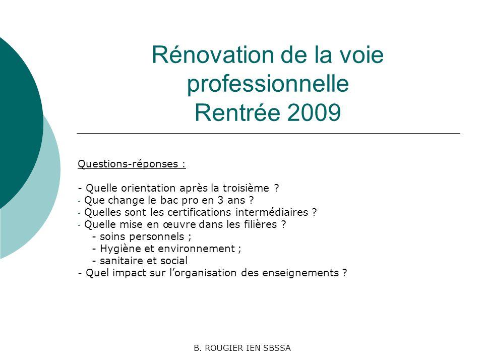 B. ROUGIER IEN SBSSA Rénovation de la voie professionnelle Rentrée 2009 Questions-réponses : - Quelle orientation après la troisième ? - Que change le