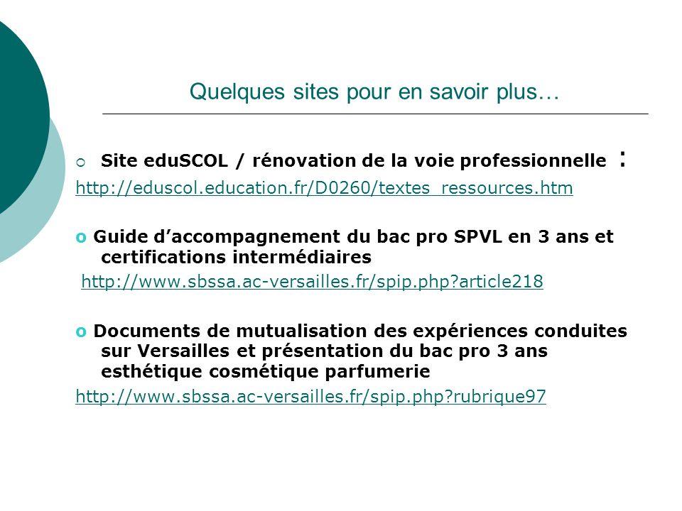 Quelques sites pour en savoir plus…  Site eduSCOL / rénovation de la voie professionnelle : http://eduscol.education.fr/D0260/textes_ressources.htm o