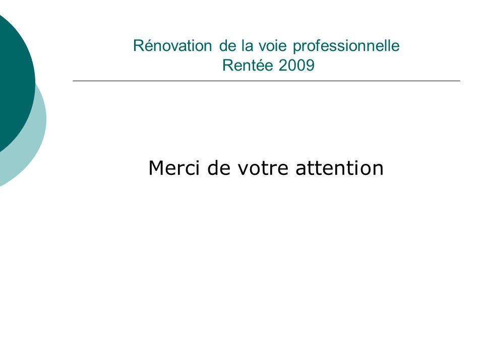 Rénovation de la voie professionnelle Rentée 2009 Merci de votre attention
