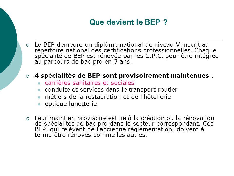 Que devient le BEP ?  Le BEP demeure un diplôme national de niveau V inscrit au répertoire national des certifications professionnelles. Chaque spéci