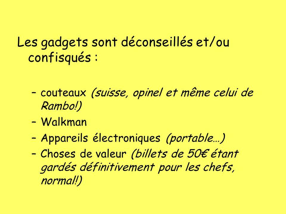 Les gadgets sont déconseillés et/ou confisqués : –couteaux (suisse, opinel et même celui de Rambo!) –Walkman –Appareils électroniques (portable…) –Cho