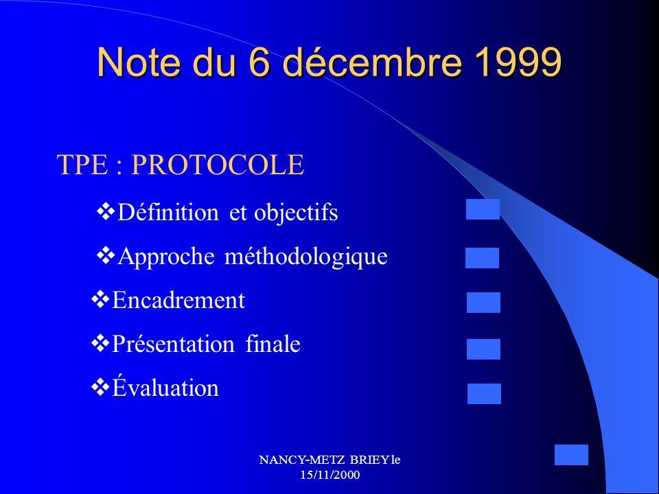 NANCY-METZ BRIEY le 15/11/2000 B.O. N°30 du 31 août 2000 B.O. N°30 du 31 août 2000 TPE en Sciences de l'Ingénieur  Intégrés dans l'horaire-élève  St