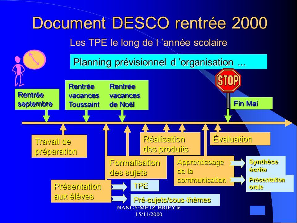 NANCY-METZ BRIEY le 15/11/2000 Note du 6 décembre 1999 TPE : PROTOCOLE  Définition et objectifs  Approche méthodologique  Encadrement  Présentatio