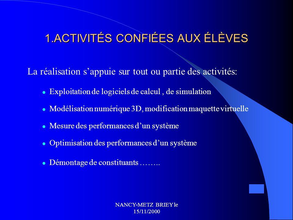 NANCY-METZ BRIEY le 15/11/2000 Les TPE le long de l 'année scolaire Planning prévisionnel d 'organisation... TPE Pré-sujets/sous-thèmes Rentrée septem