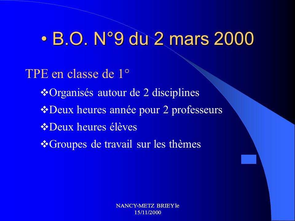 NANCY-METZ BRIEY le 15/11/2000 ETAT DE LA REFLEXION / PREPARATION A CE JOUR ? QUESTIONS - REPONSES